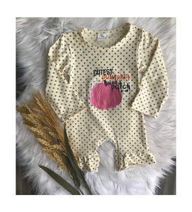 Cutest Pumpkin Long Sleeve Polkadot Onesie