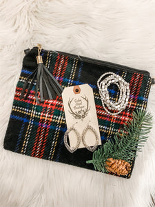 Black Plaid Clutch & Jewelry Bundle