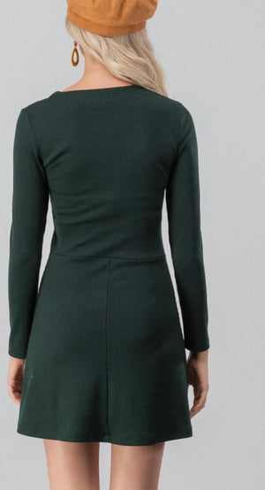 Hunter Green Ribbed Button Detail Dress