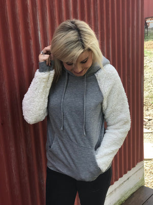Sherpa Sleeved Grey Hooded Sweatshirt