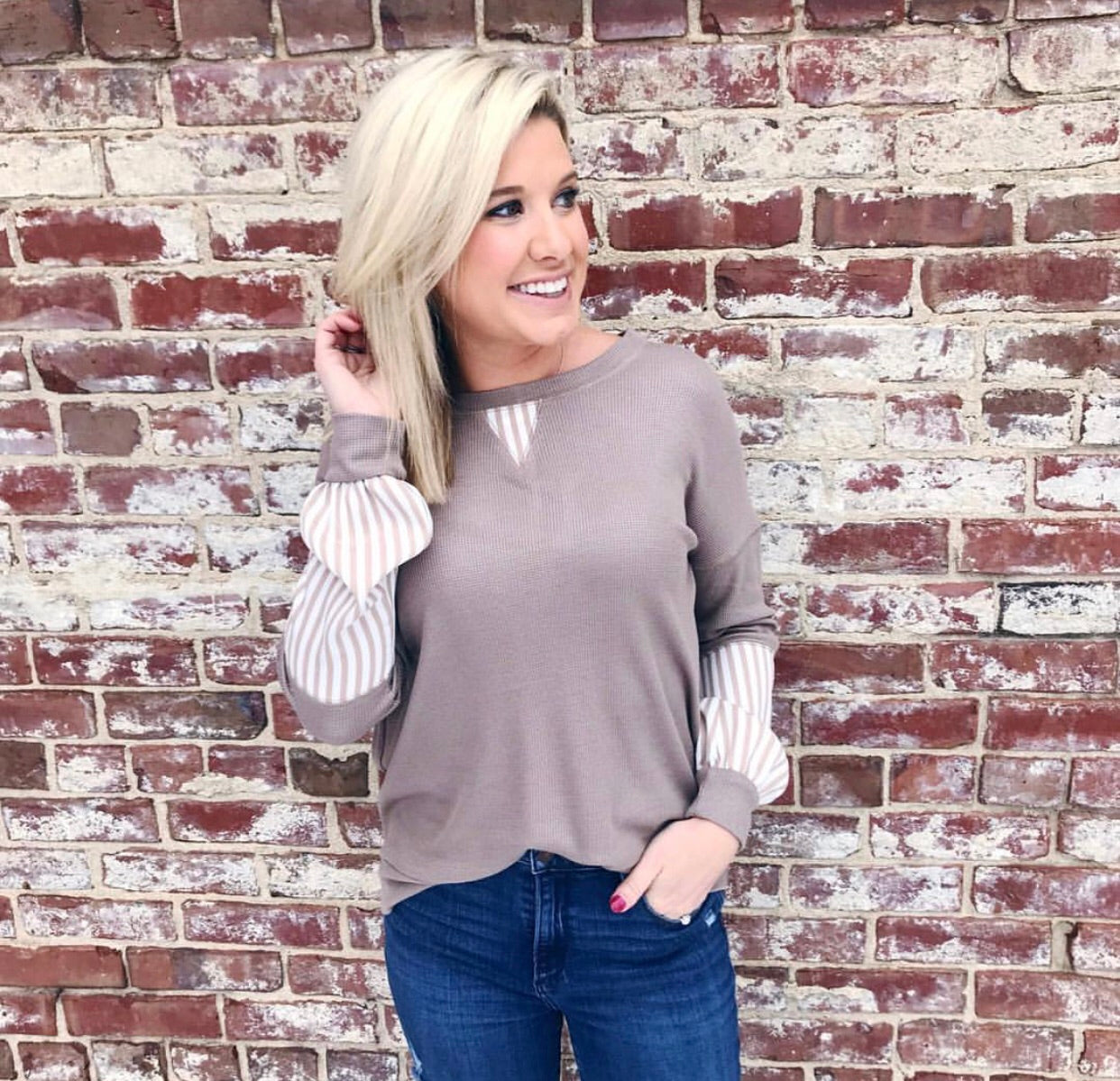 Mocha Striped Sleeve Top