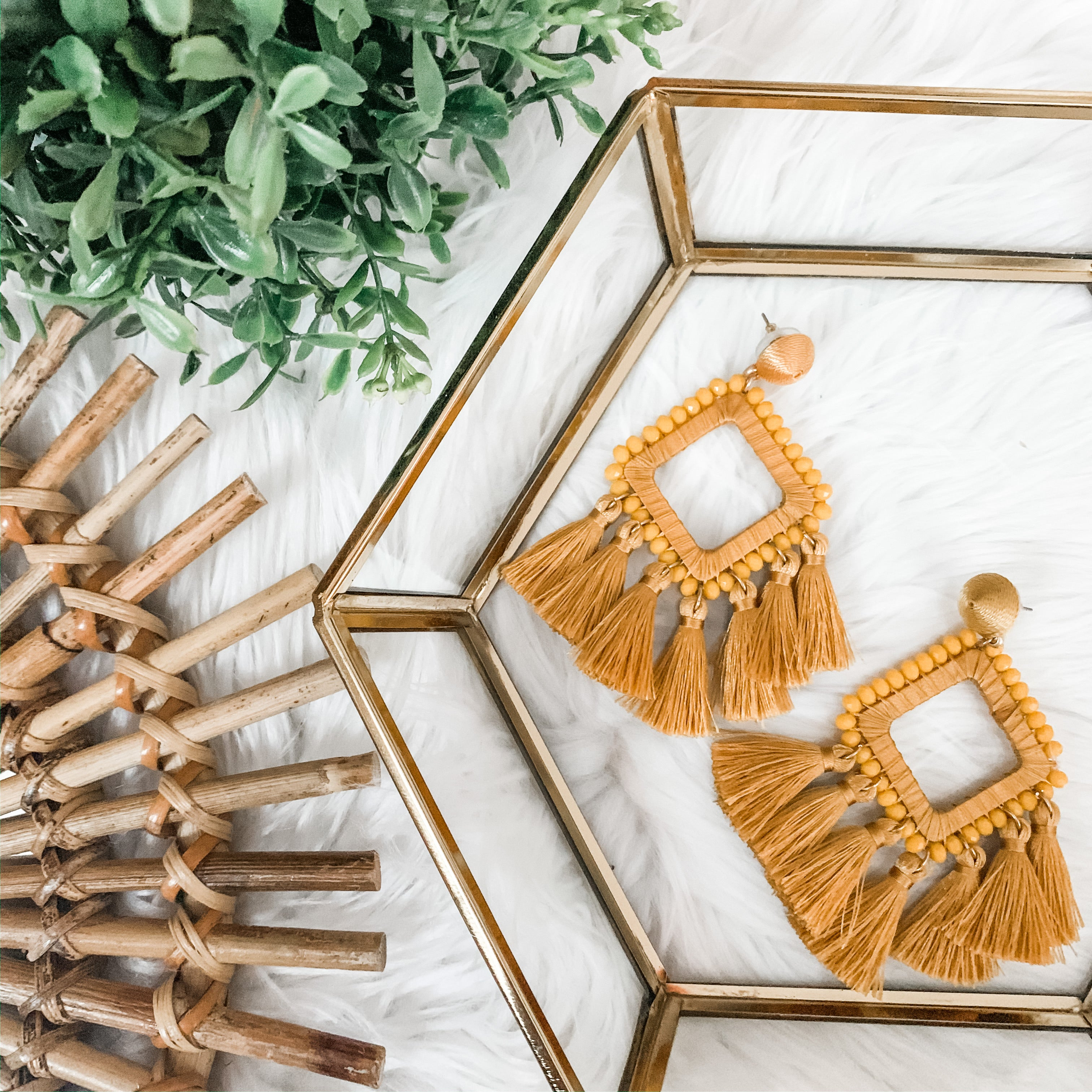 Mustard Tassel Statement Earrings