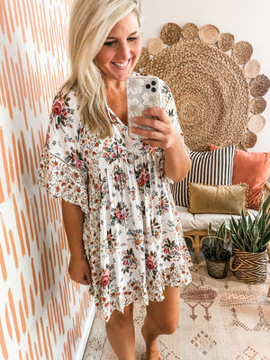 Cream Floral Mix Babydoll Dress
