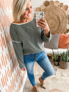 Moss Striped Boatneck Top