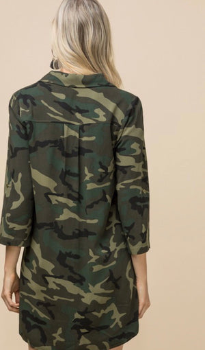 Camo Roll Sleeve Button Detail Dress