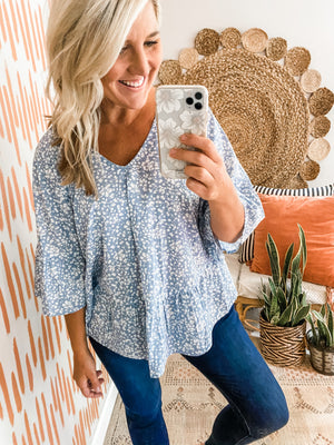 Light Blue Floral Flowy Top