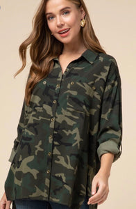 Camo Button Down Tunic