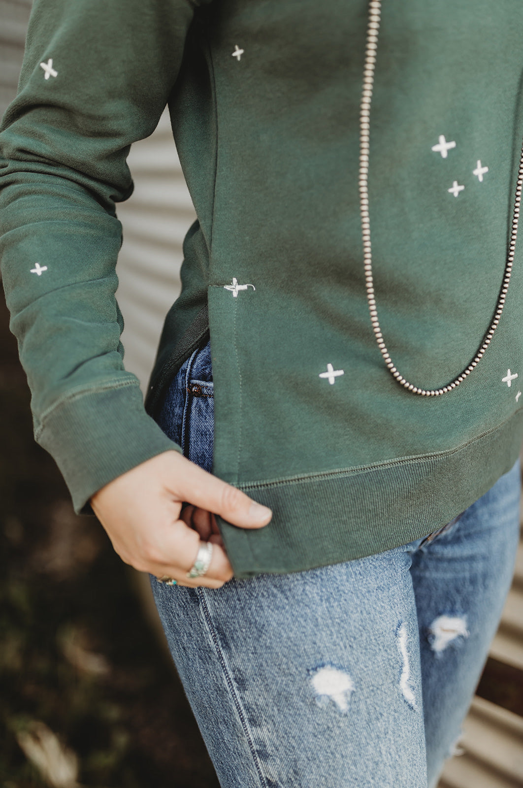 """No Shade of Green"" Vintage Teal Embroidered Pullover"