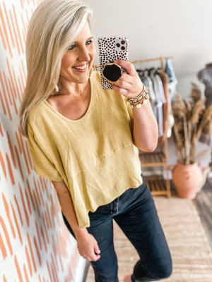 Yellow Scoop Neck High Low Top