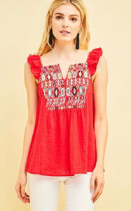Red Embroidered Flutter Sleeve Top