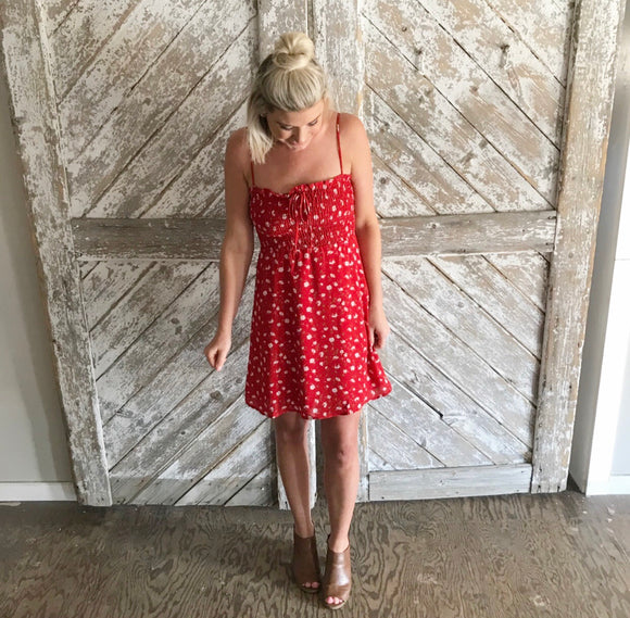 Red Floral Strappy Dress