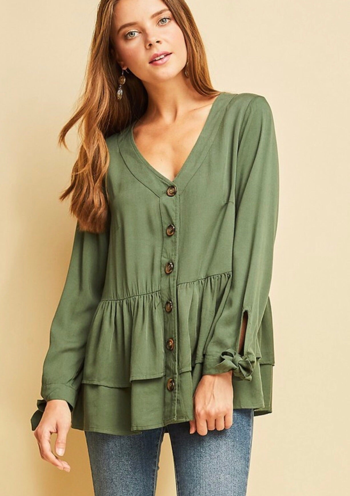 Light Olive Tiered Ruffled Blouse