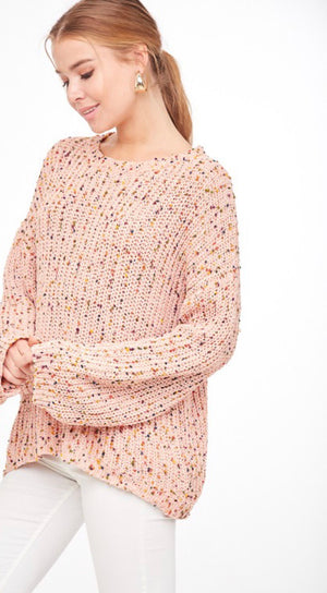Peach Confetti Fleck Sweater