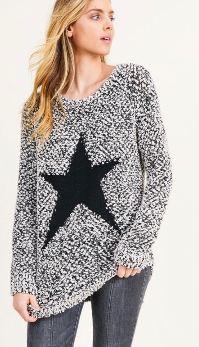 Star Detailed Popcorn Sweater