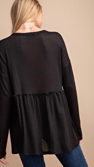 Black Waffleknit Henley Top