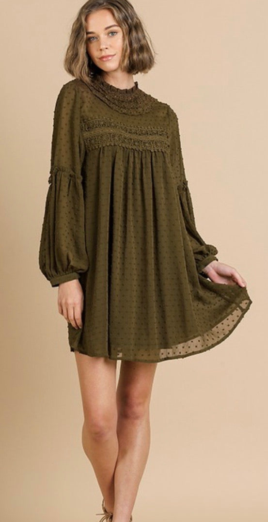 Olive Swiss Dot Detail Dress