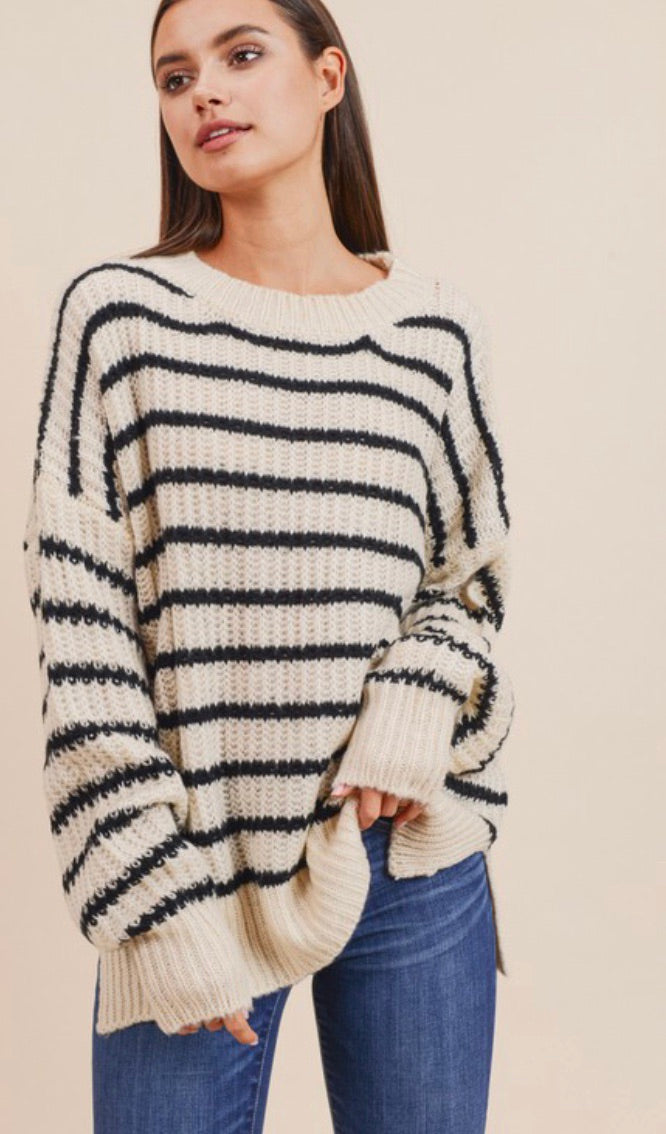 Ivory Striped Oversized Sweater