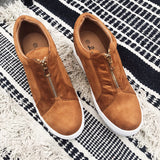 Camel Zip Wedge Sneaker
