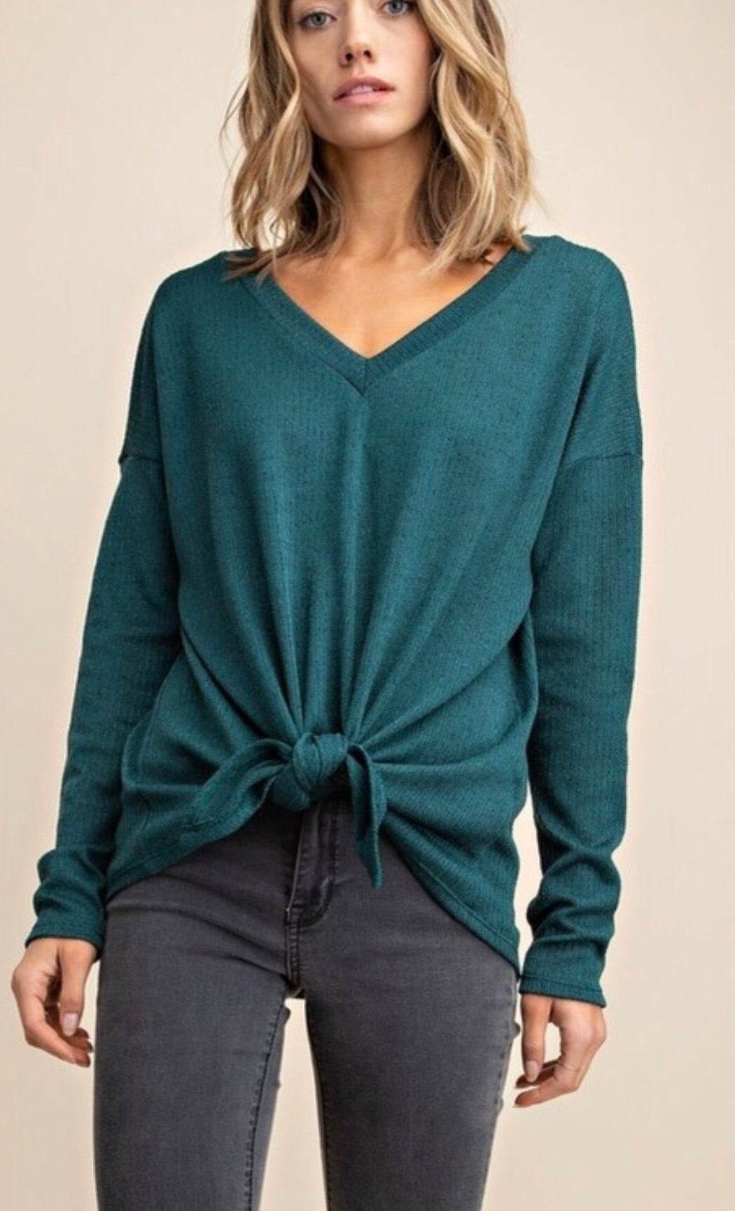 Hunter Green Knotted Top