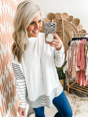 Ivory Striped Mock Neck Tunic