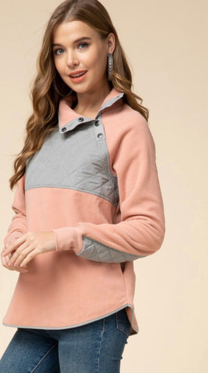 Blush & Grey Colorblock Pullover