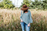Sage Peasant Tunic Top