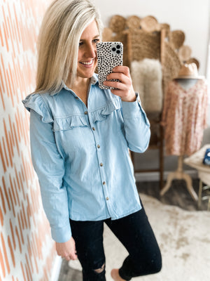 Light Denim Ruffle Detail Button Down