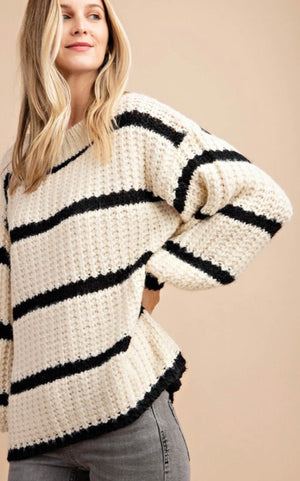 Black & Ivory Striped Oversized Sweater