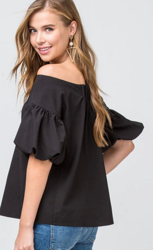 Black Off The Shoulder Bubble Sleeve Top