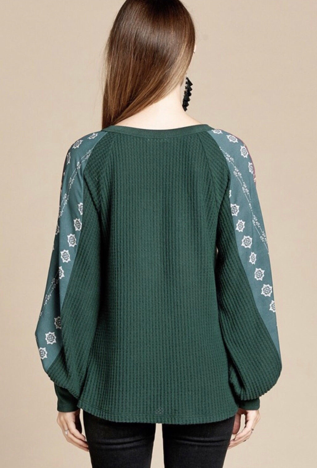 Hunter Green Waffleknit Printed Sleeved Top