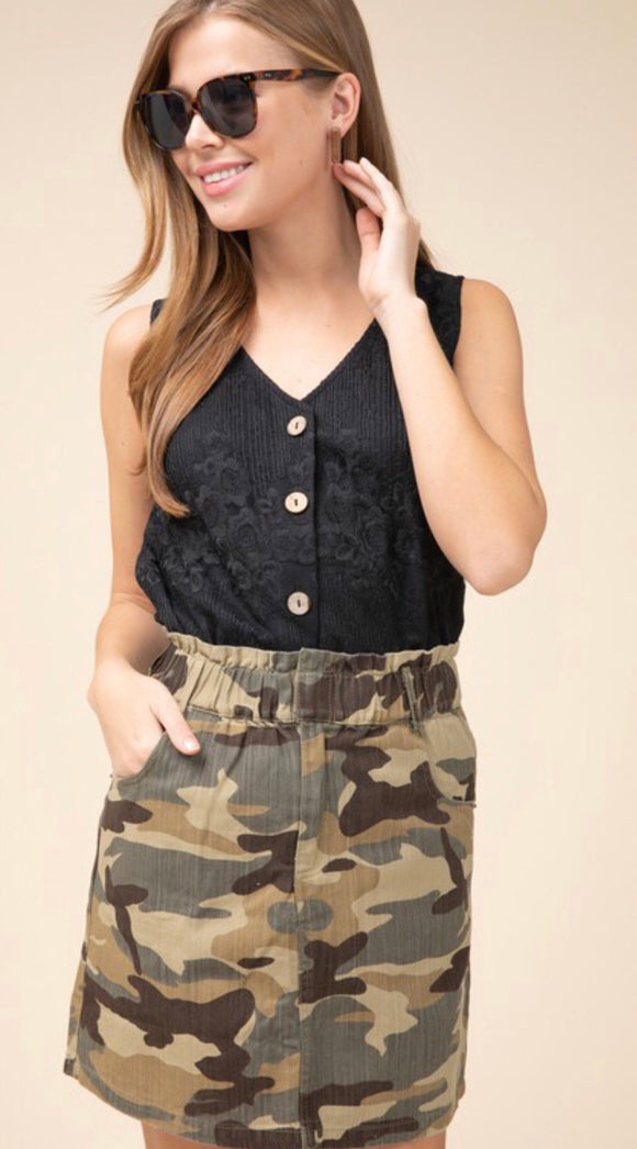 Camo Denim Cinched Waist Skirt