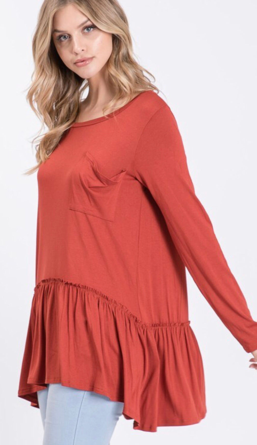 Rust Ruffle Peplum Top