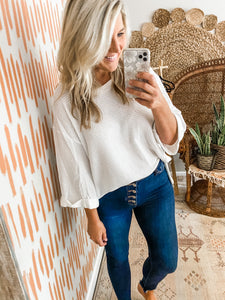 White Oversized Waffleknit Top