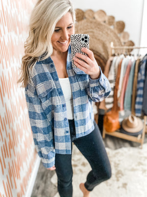 Light Blue & Ivory Plaid Shacket