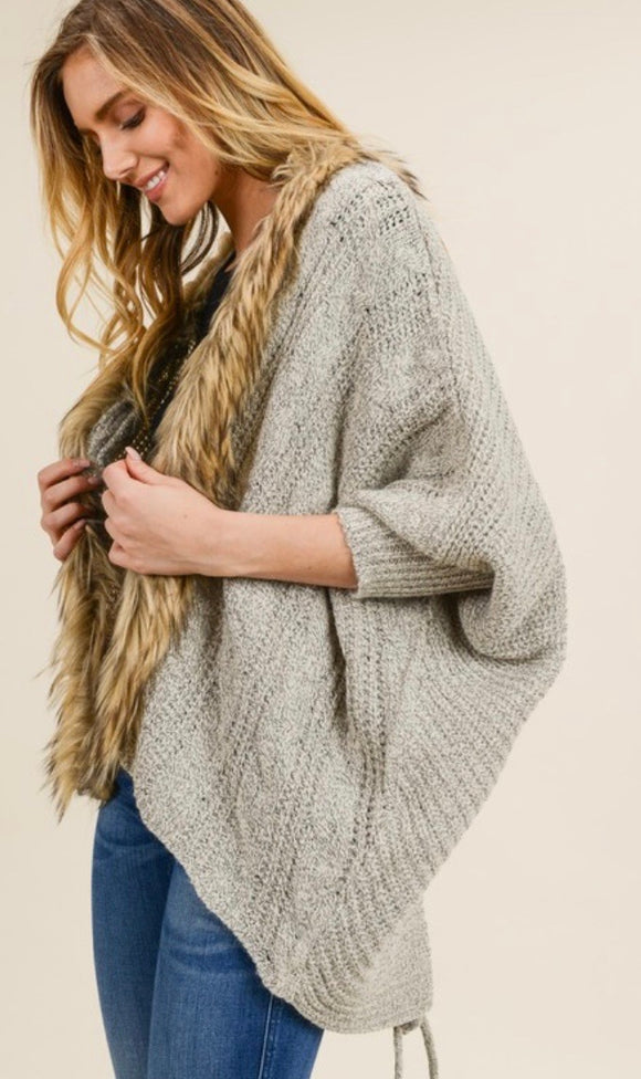 Taupe Fur Trim Lace Up Back Cardigan