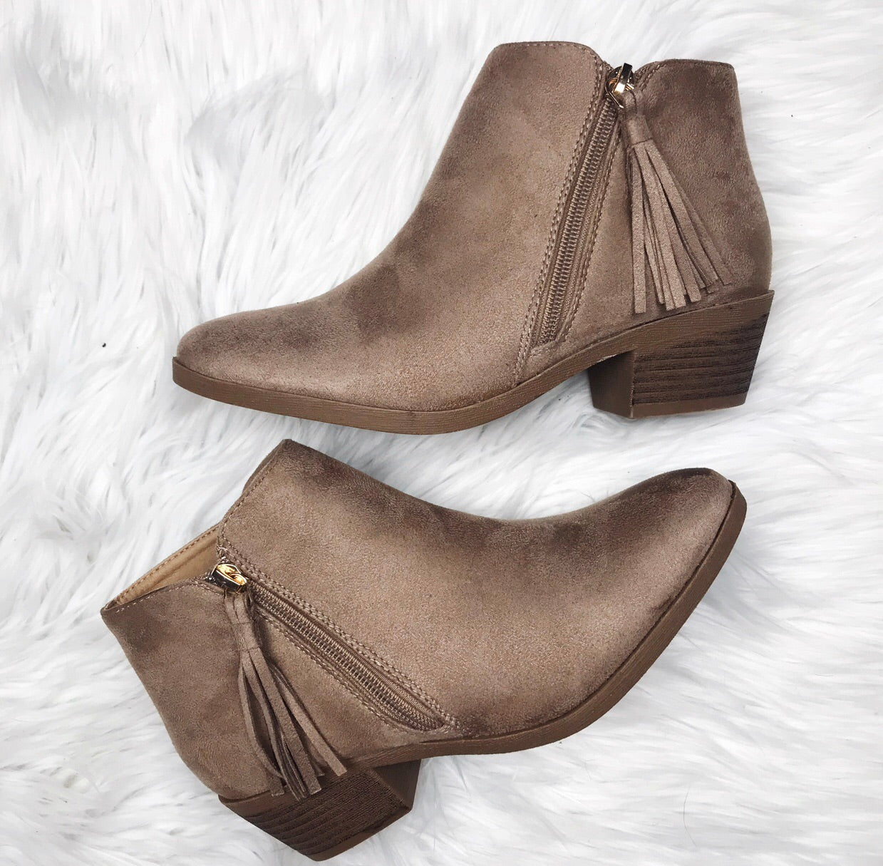 Taupe Tassel Bootie