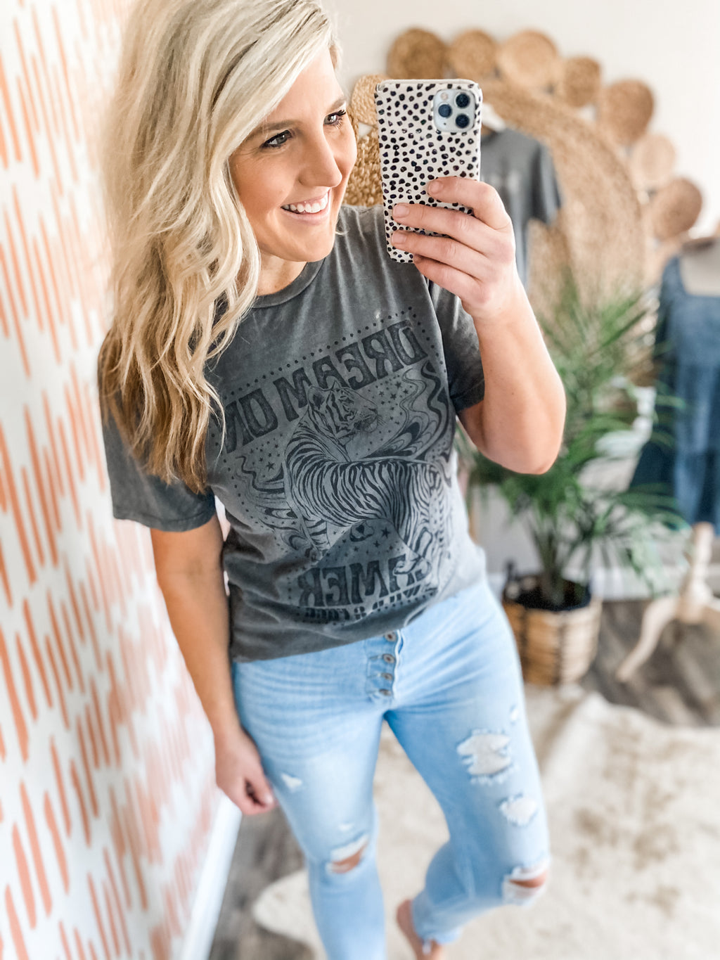 Stone Grey Mineral Wash Dream on Dreamer Tee