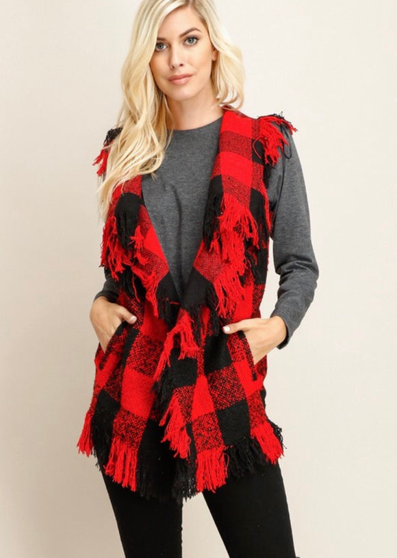 Red Checkered Drape Front Vest