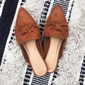 Knotted Bow Slip On Mules