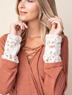 Surplice Lace Up Top