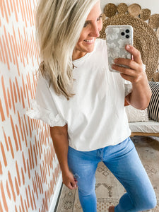 White Ruffle Sleeve Detail Top