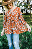 Rust Flower Print Babydoll Top