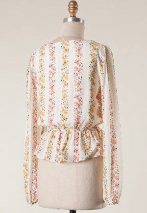 Ivory Swiss Dot Floral Blouse