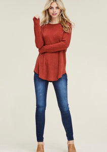 Rust Ribbed Contrast Top