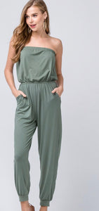 Light Olive Strapless Jumpsuit