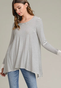 Black/White Striped Tunic Top