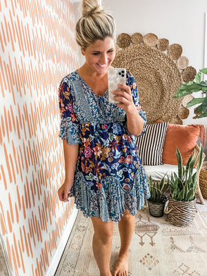 Navy Floral Ruffle Hem Dress