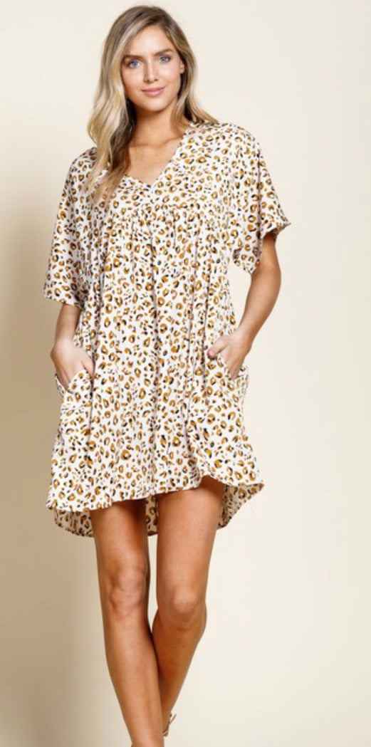 Ivory Leopard Babydoll Dress