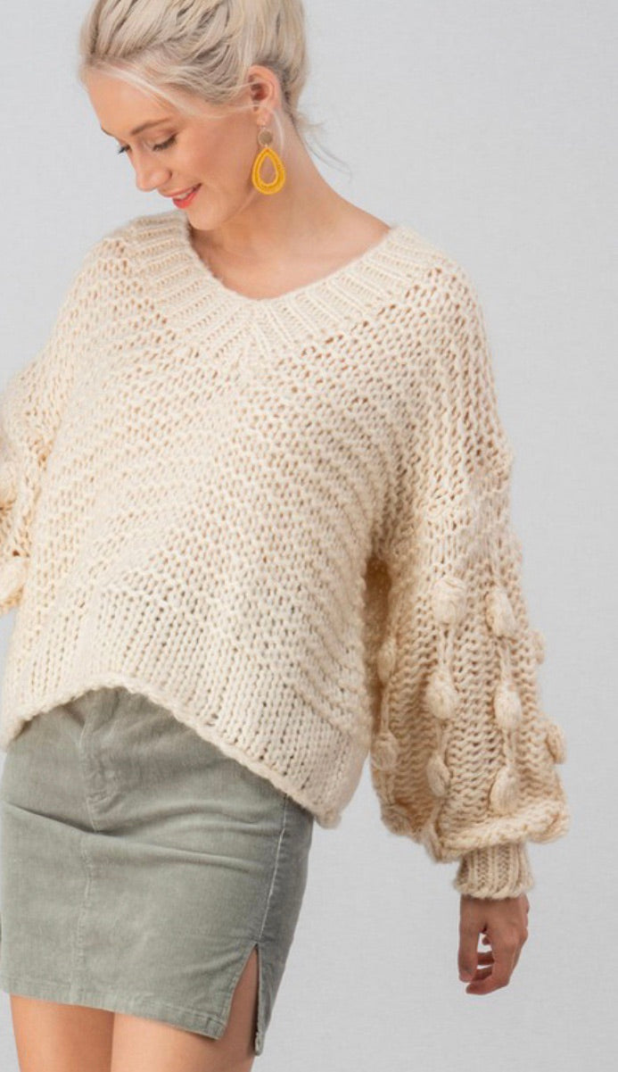 Ivory Chunky Knit Pom Sweater