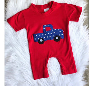 Red Short Sleeve Truck Onesie